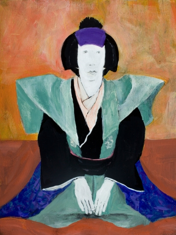 """Kabuki IV"", 2015, 12""h x 9""w, acrylic on panel. ©chris mesarch"
